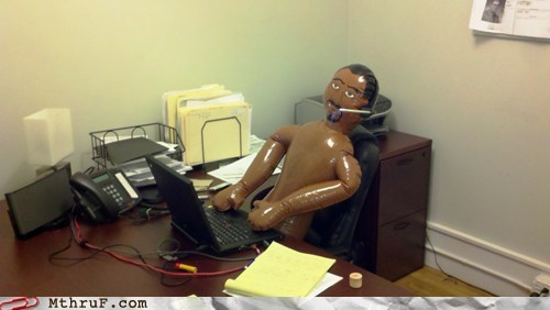 blow-up dolls,coworkers,naked,on the phone