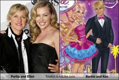 Barbie,ellen degeneres,funny,Hall of Fame,ken,Portia de Rossi,TLL