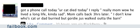 cat Death false alarm oops wtf