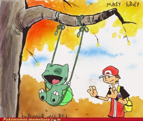 art,bulbasaur,calvin and hobbes,comic,crossover,red,swing,yay