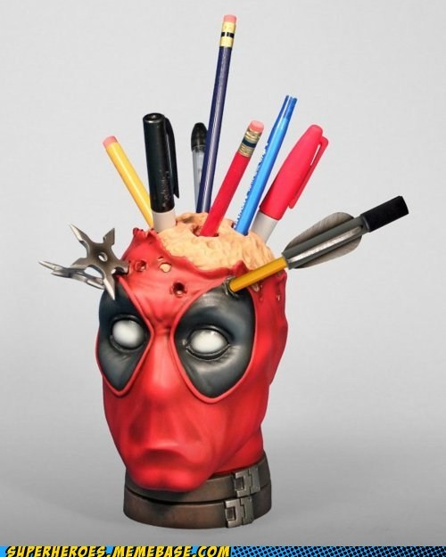 deadpool,pencil holder,product,Random Heroics,wtf