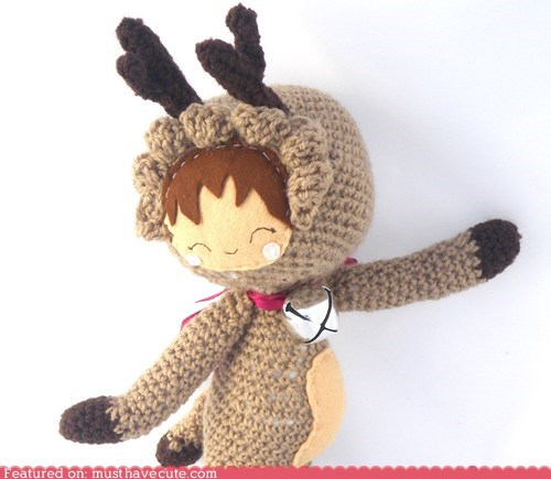 Amigurumi antlers bell Crocheted doll reindeer