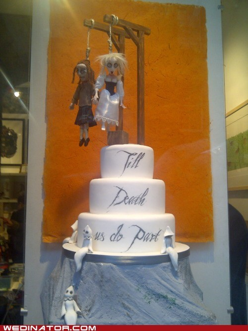 cake,cake toppers,Death,funny wedding photos