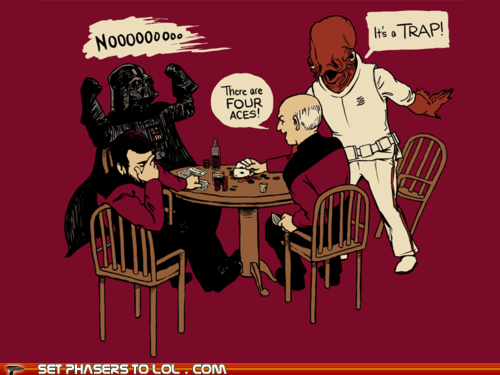 admiral ackbar,art,comic,darth vader,its a trap,jean-luc picard,Star Trek,star wars,there are four lights,william riker