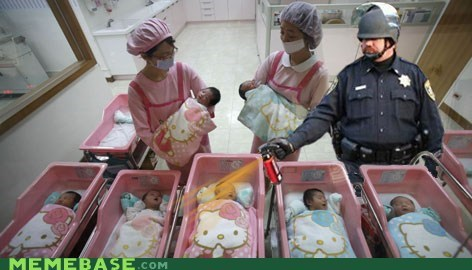 Babies birthday cop Memes pepper spray