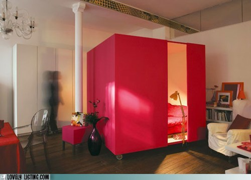 bed,box,red,room,tiny