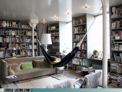 books,hammock,library,living room