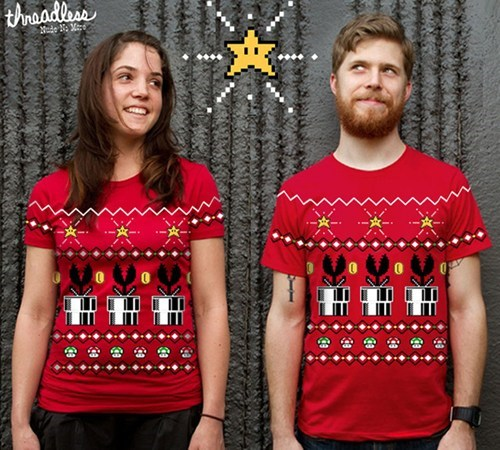 christmas sweater,mario,merch,Super Mario bros,tees,threadless,t shirts,ugly sweater,video games