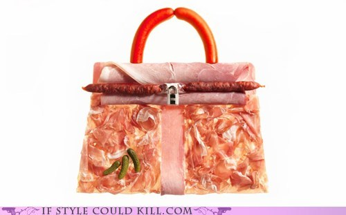 cold cuts,ham,meat,pickles,prosciutto,purse,sausage