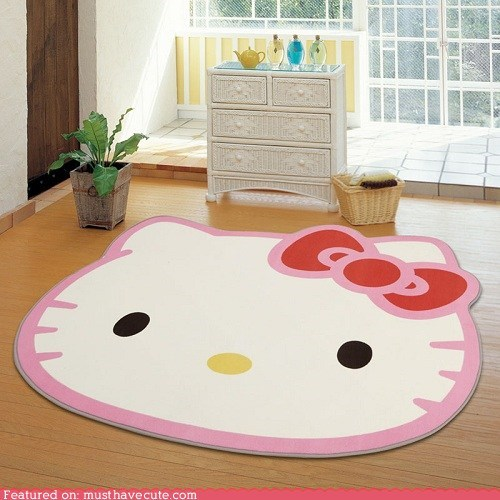 decor face hello kitty rug