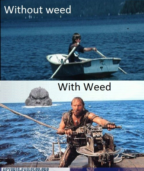 adventure,boat,godzilla,high,kevin costner,pot,rowing,smoking,waterworld,weed