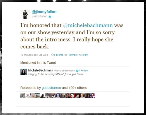 2012 Presidential Race,Contrite Tweet,Follow Up,jimmy fallon,Michele Bachmann,Questlove,The Roots