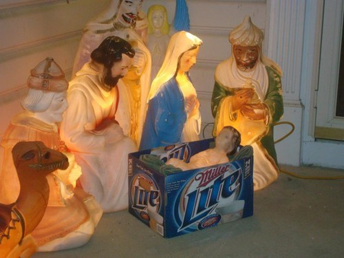 amen beer god jesus miller lite Nativity - 5469434112