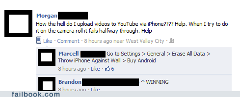 android,iphone,technology,winning,witty reply,youtube