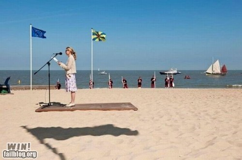 beach,carpet,flag,floating,illusion,perspective,shadow,Wait For It
