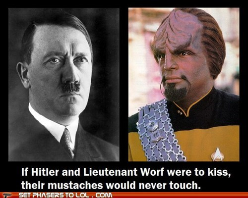 adolf hitler,KISS,Michael Dorn,mustache,Star Trek,Worf