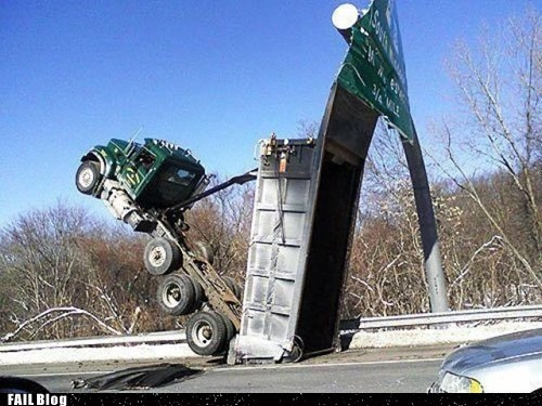 cars,crash,drop,fail truck,headstand,highway,truck