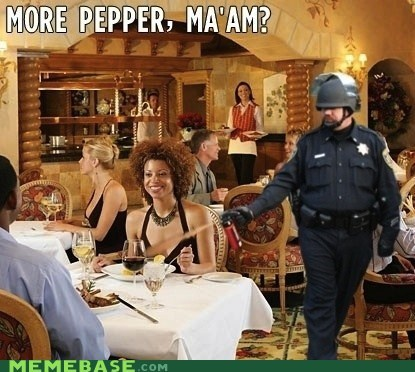 pepper,Pepper Spray Cop,please,restaurant,women