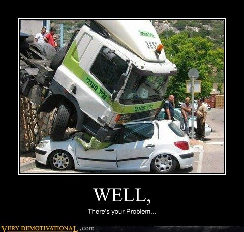 cars,hilarious,problem,truck,well