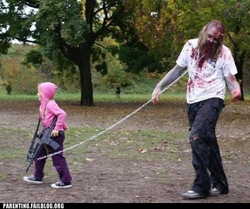 costume,gun,Hall of Fame,parent,Parenting Fail,the horror,The Walking Dead,zombie,zombie apocalypse