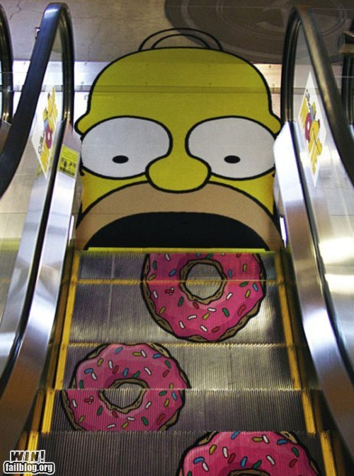 advertisement classic clever escalator nom nom nom simpsons temporarily stairs - 5472646656