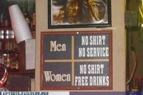 after 12 bar classic discrimination gender issues g rated men no shirt no shoes old sauce pub women - 5473342720