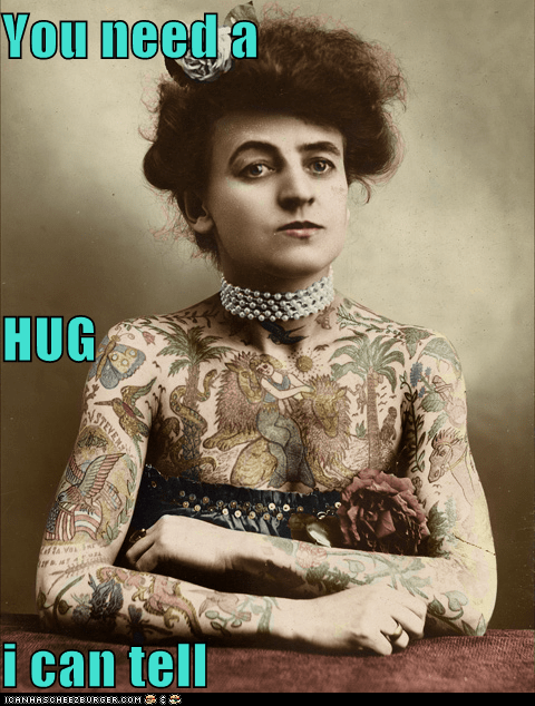 historic lols hug random woman tattoo tattoos vintage woman - 5473374208