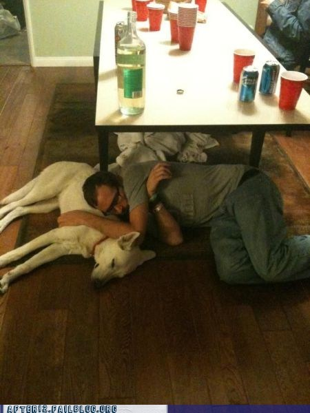 crunk critters dogs drunk floor passed out Red Solo Cup