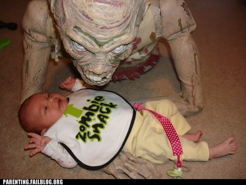 baby bib creepy decoration horror parenting Parenting Fail snack zombie