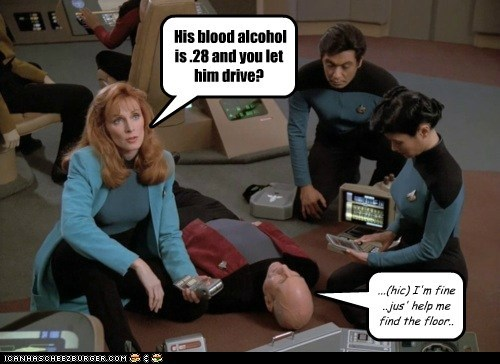 His blood alcohol is .28 and you let him drive? ...(hic) I'm fine ..jus' help me find the floor..