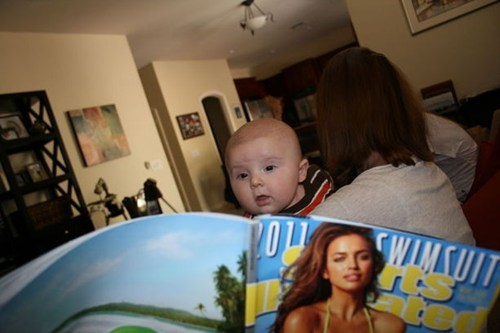 baby,inappropriate,lady bits,magazine,Parenting Fail,pr0n,sports illustrated,studying