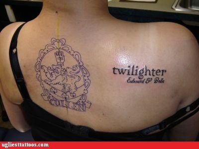 animals facepalm g rated literature movies names permanent pop culture tattoos twilight Ugliest Tattoos vampires words - 5479505152