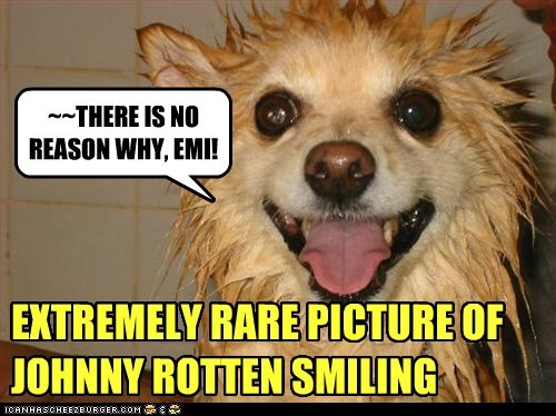 EXTREMELY RARE PICTURE OF JOHNNY ROTTEN SMILING ~~THERE IS NO REASON WHY, EMI!
