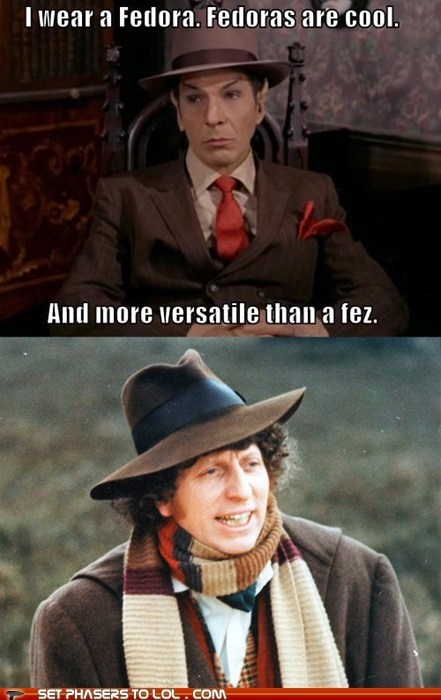 cool,doctor who,fedora,FEZ,hats,Leonard Nimoy,Spock,Star Trek,the doctor,tom baker