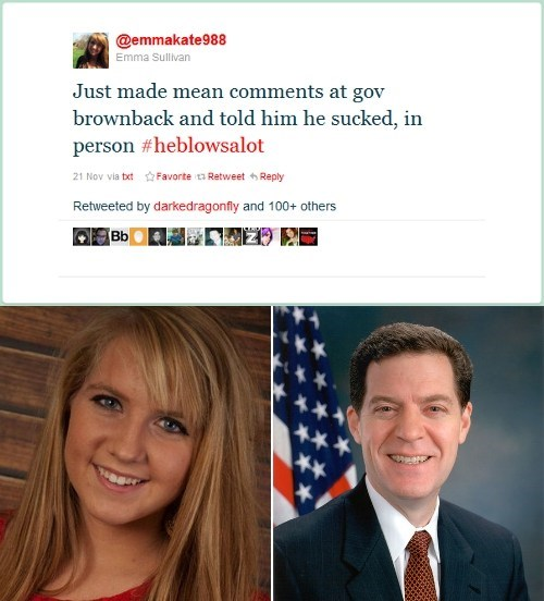 All Kinds Of Wrong Emma Sullivan First Amendment Rights Sam Brownback Streisand effect - 5481590016