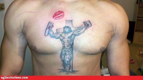 comedy tats jesus christ lips religion - 5482344960