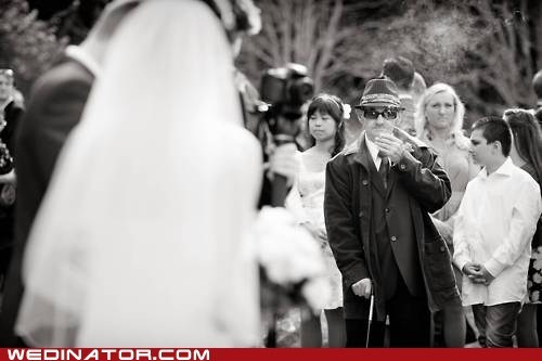 bride,funny wedding photos,grandparents,smoking