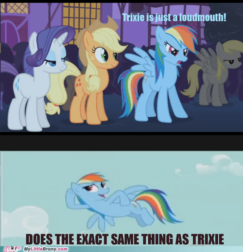 bragging element of hypocrisy loudmouth meme rainbow dash - 5483733248