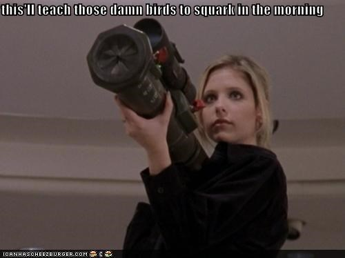 bazooka,birds,Buffy,Buffy the Vampire Slayer,Sarah Michelle Gellar