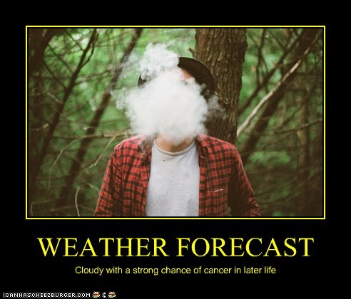 WEATHER FORECAST Cloudy with a strong chance of cancer in later life
