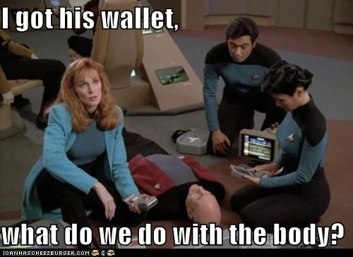 body,doctor beverly crusher,gates mcfadden,jean-luc picard,mugging,patrick stewart,Star Trek,wallet