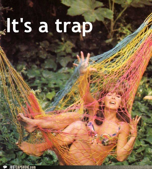 captured its-a-trap-trap ropes stuck vintage woman - 5485499392
