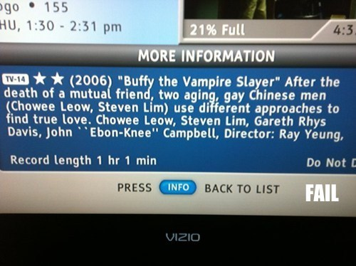 Buffy the Vampire Slayer comcast description twilight