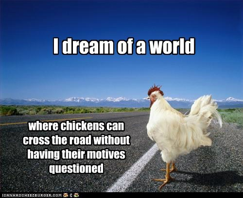 animals,chicken,crossing the road,I have a dream,road