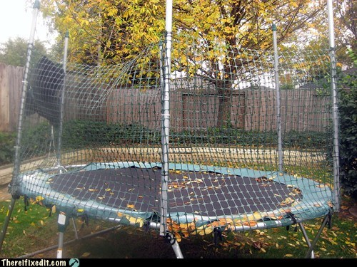 autumn,dual use,leaves,trampoline