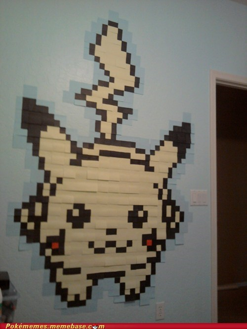 art,cute,IRL,pikachu,post its
