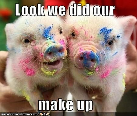 adorbz,animals,colorful,colors,makeup,mess,messy,paint,piglets,pig,spring