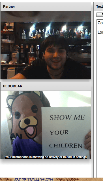 Chat Roulette,children,pedobear,video chat