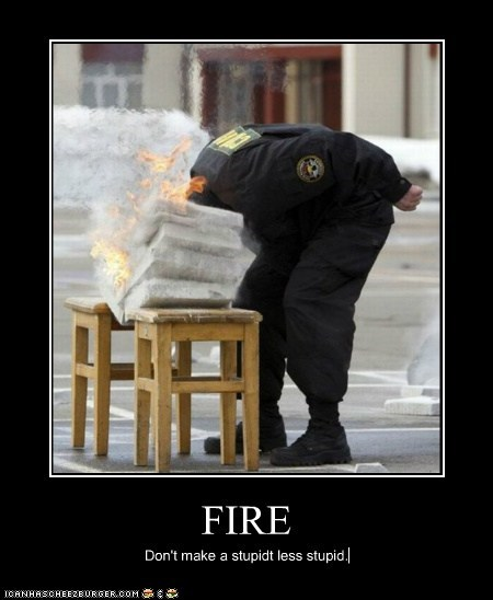FIRE Don't make a stupidt less stupid.