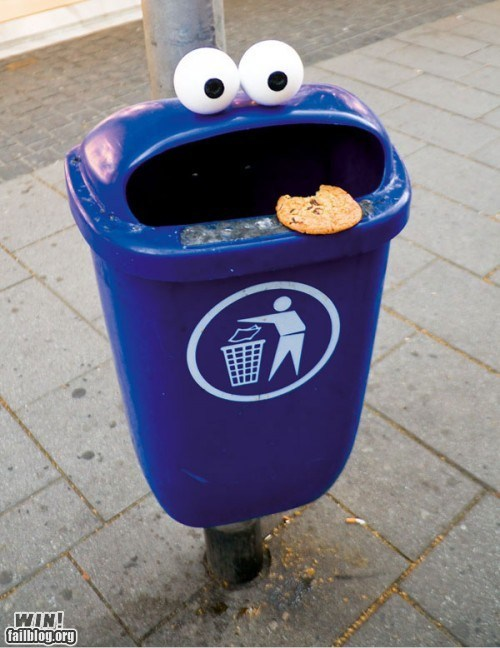 Cookie Monster,hacked irl,recycling,Sesame Street,trash,trash bin